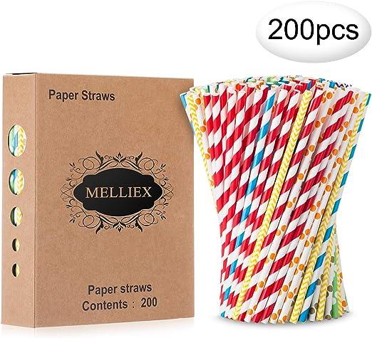 200PCS Pajitas de papel biodegradables Pajitas de papel de colores ...