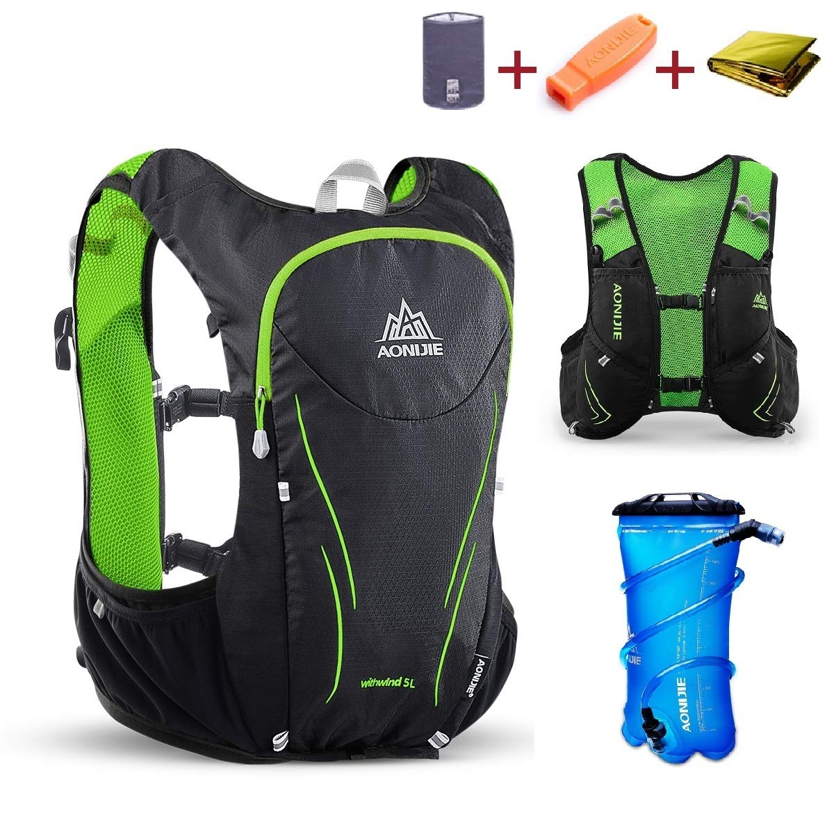 Triwonder Hydration Pack Backpack 5L Lightweight Deluxe Marathoner Running Race Hydration Vest (Black & Green - with 2L TPU Water Bladder, M/L - 34.6-39.4in)
