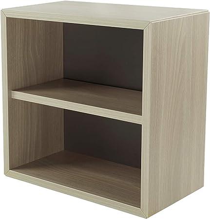 Pequeño mueble de madera, estante, estantería, librería, mesilla de noche, mueble, cubo, organizador de espacio para dormitorio, salón, cuarto de baño, cocina. 365x365x210 mm (Olmo).