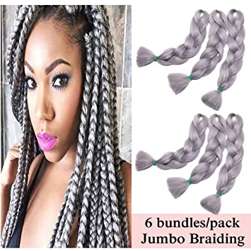 Astonishing Amazon Com Jumbo Braiding Hair Grey 6 Bundles Crochet Twist Hair Schematic Wiring Diagrams Phreekkolirunnerswayorg