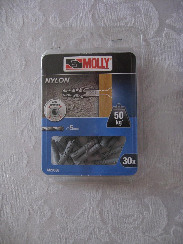 Gris Set de 10 Pi/èces Molly M20910-XJ Chevilles nylon avec vis /à t/ête frais/ée /Ø 8 x 40 mm