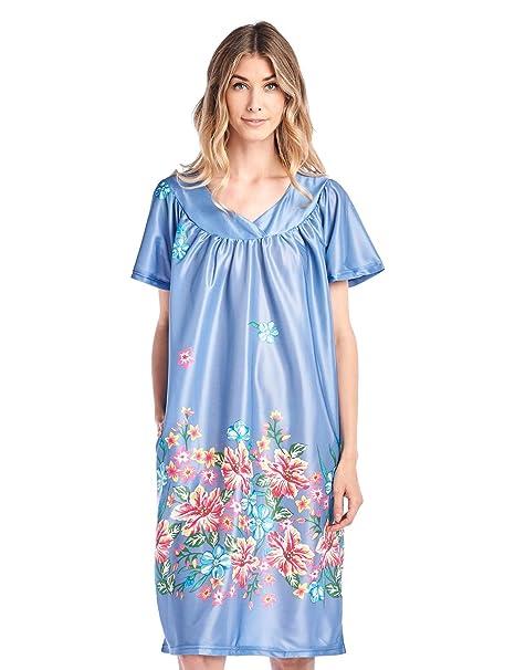 53e2559ab53 Casual Nights Women s Short Sleeve Muumuu Lounger Dress - Denim - Small