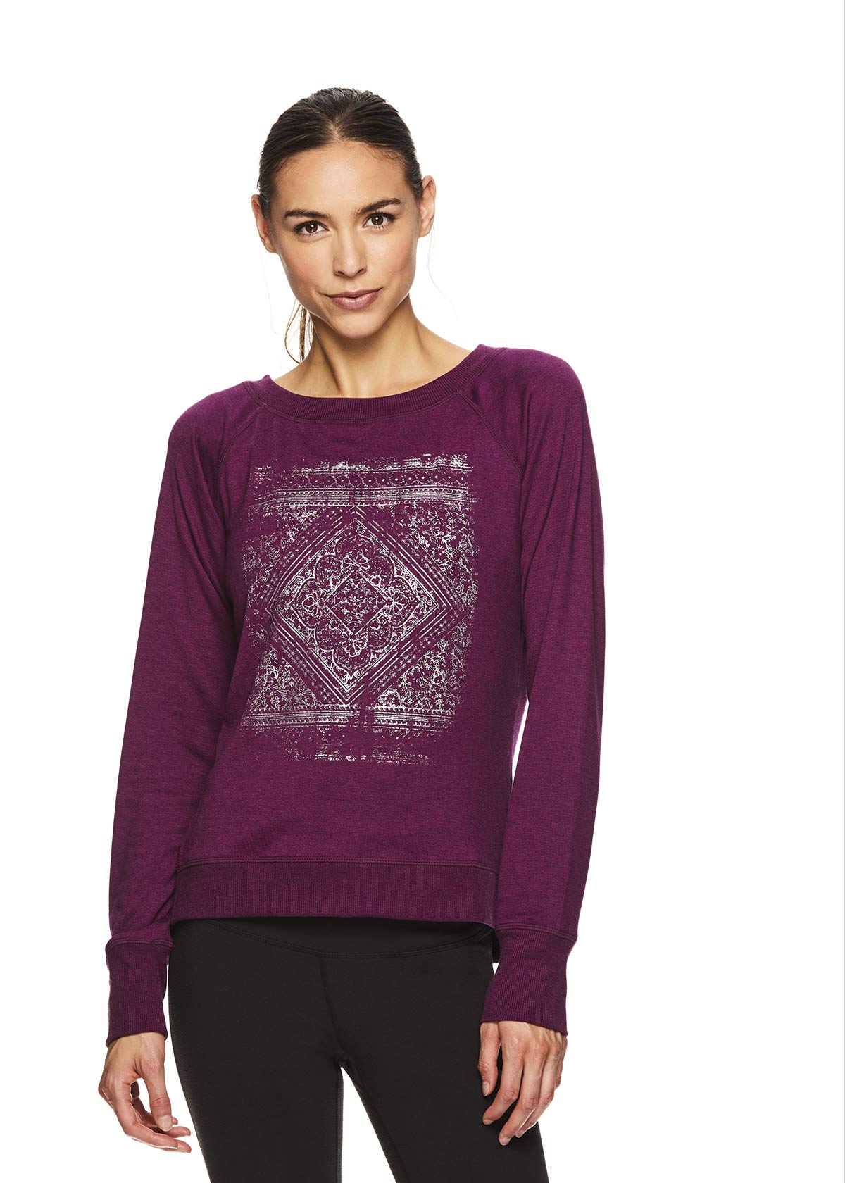 Gaiam Women's Pullover Yoga Sweater - Long Sleeve Graphic Activewear Shirt - Calla Pickled Beet Heather, X-Large by Gaiam