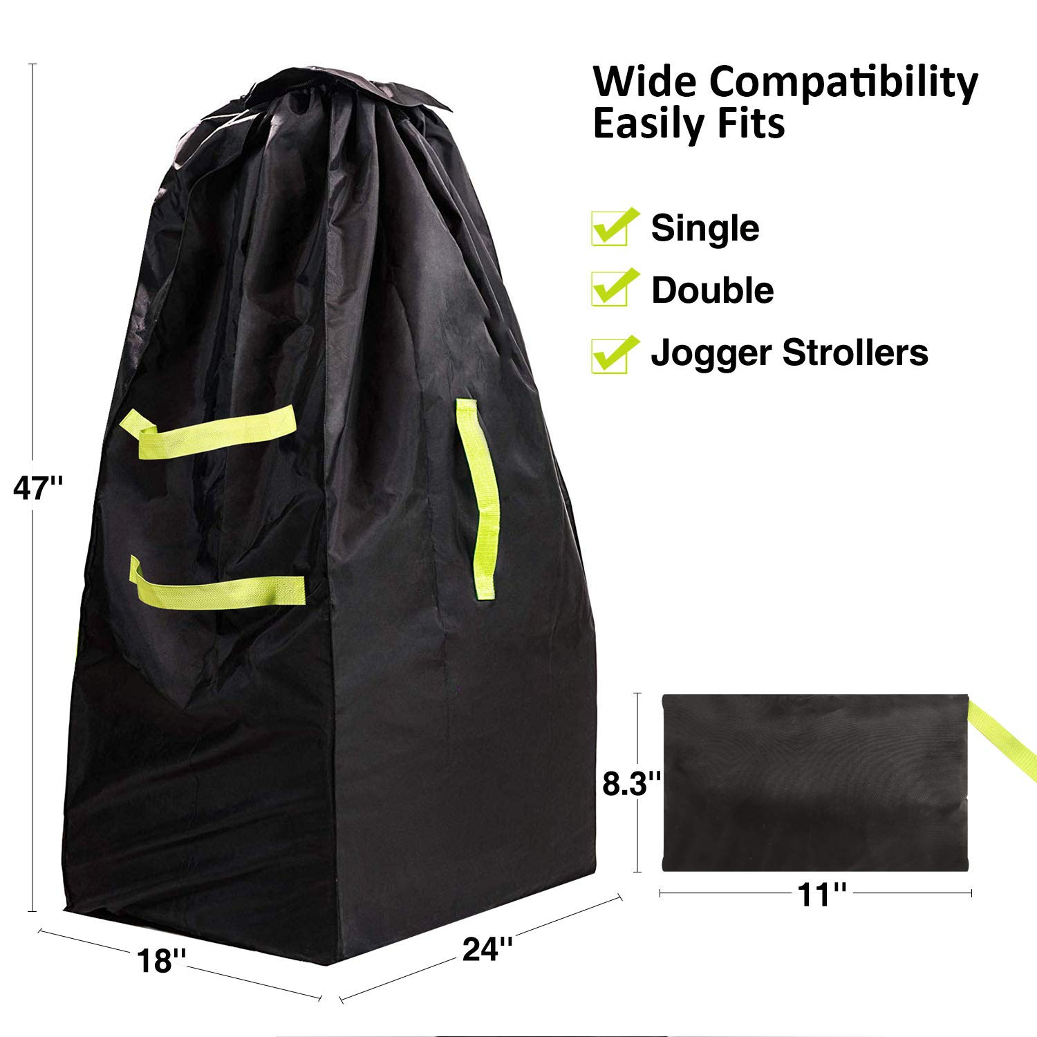 Fits Standard and Double Baby Strollers Black RedSwing Stroller Bag Durable Stroller Travel Bag for Airplane