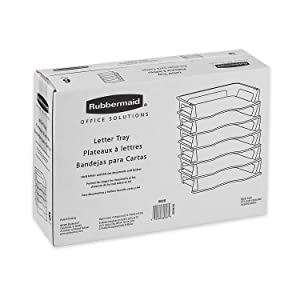 Rubbermaid Regeneration Letter Tray, Six Tier, Plastic, Black (86028), Pack of 12