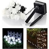Itian Catena di Luci Solare per Esterno Giardino Campeggio Terrazza Party Natale(Bianco)