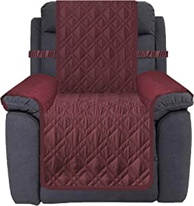 Ameritex Waterproof Nonslip Recliner Cover Stay in Place, Dog Chair Cover Furniture Protector, Ideal Recliner Slipcovers for Pets and Kids (30'', Burgundy)