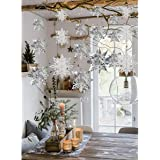 Crafare Christmas Hanging Snowflake Decorations 18PCS 3D White Silver Snowflakes Hanging Garland for Christmas Winter…