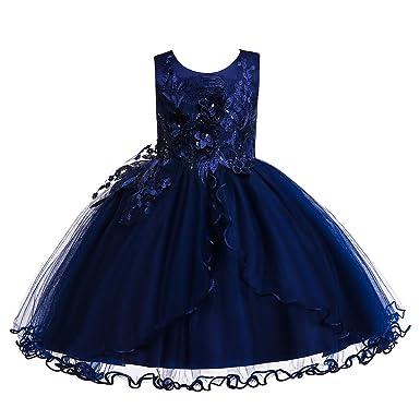9e85b0344223e Weileenice® 子供 ドレス キッズ ワンピース レース チュール ジュニアドレス フラワーガールドレス お姫様 パーティー ピアノ