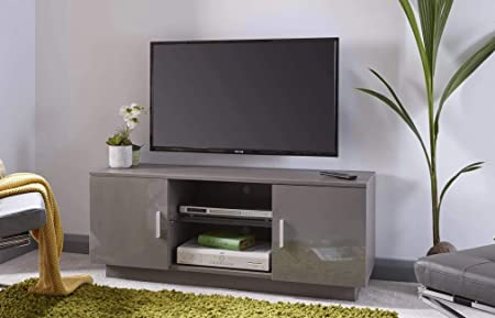 Home Source Lima - Mueble para televisor (Alto Brillo), Color Gris: Amazon.es: Hogar