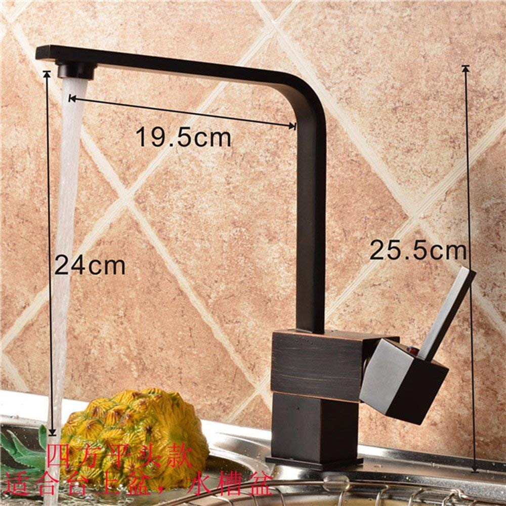 CFHJN HOME European Style Retro Hot And Cold All Copper Single Handle Single Hole Sink Faucet G