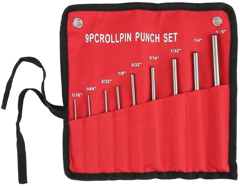 KSTE 9PCS Durable Steel Roll Pin Punch Set Mechanics Professional Tool Kit