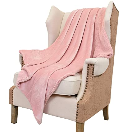 Amazon Catalonia Pink Sherpa Throw Blanket Reversible Match Mesmerizing Peach Colored Throw Blanket