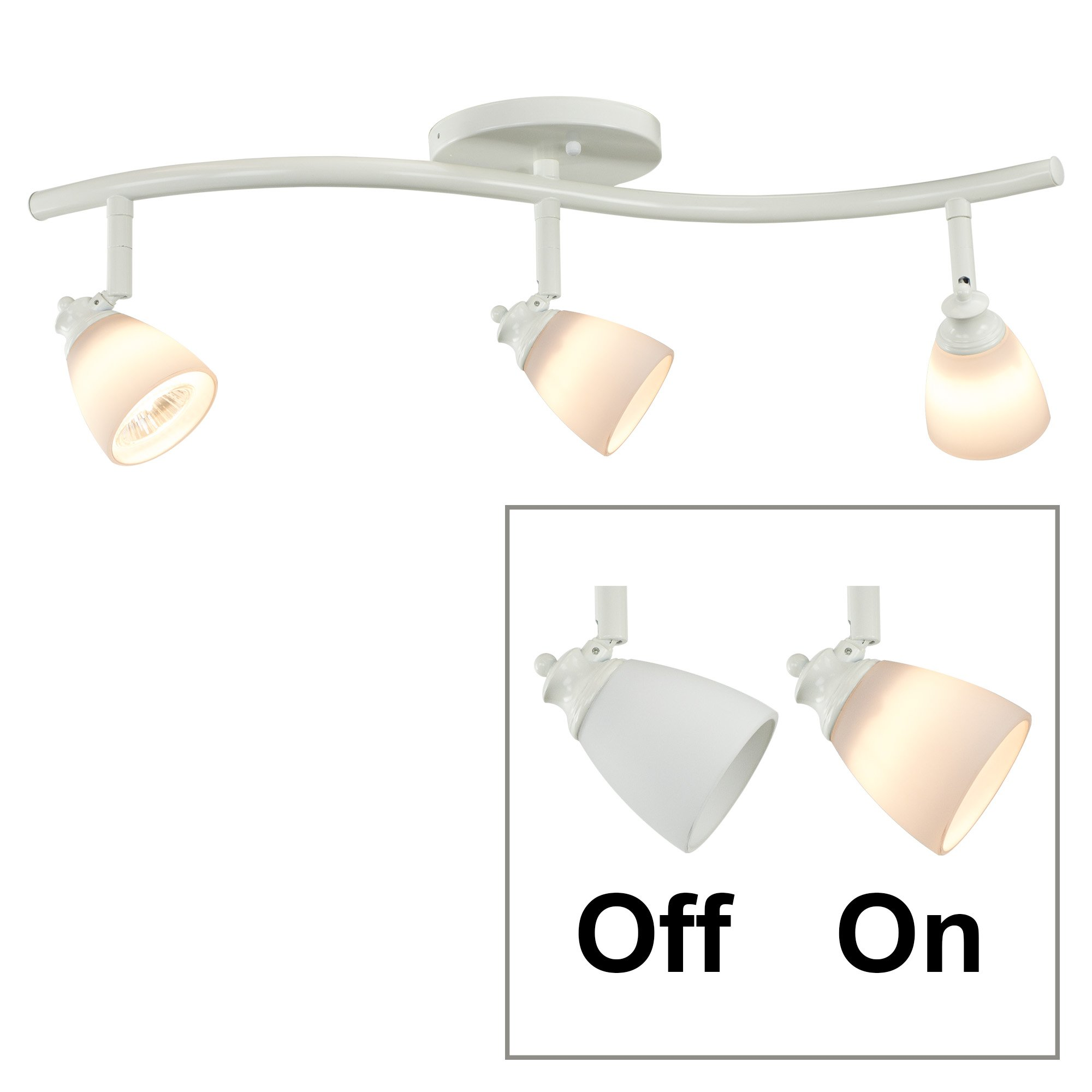 Direct-Lighting 3 Lights Adjustable Track Lighting Kit - White Finish - White Glass Track Heads - GU10 Bulbs Included. D268-23C-WH-WH