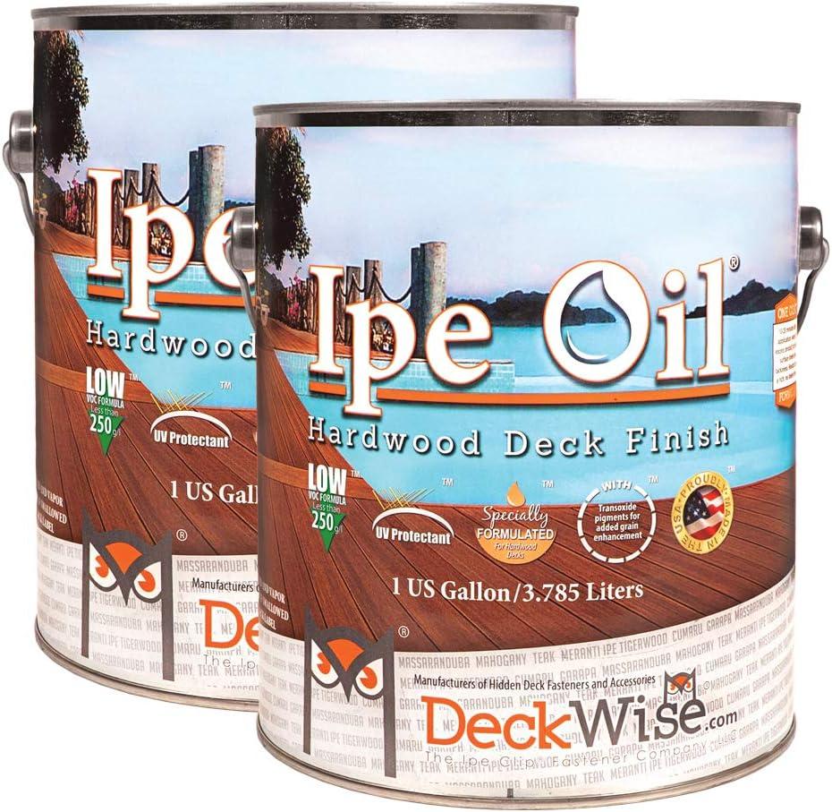 DeckWise Ipe Oil Hardwood Deck Semi-Transparent 250 VOC Natural Finish (Pack of 2, 1-Gallon Each)