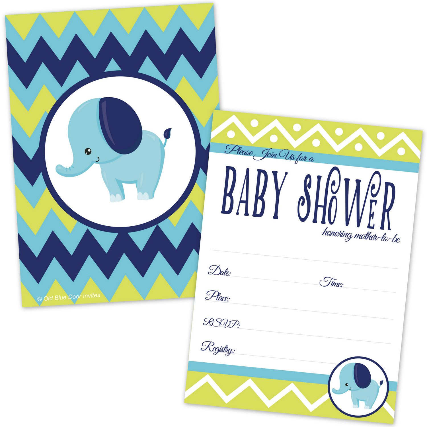 Elephant Baby Shower Invitations for Boy - Lime Green and Blue Chevron Invites - (20 Count with Envelopes) by Old Blue Door Invites (Image #1)