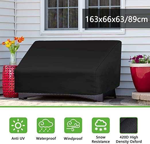 FOCHEA Funda Mesa Jardin, 420D Funda Muebles Impermeable Tela Oxford Anti-UV Fundas para Conjuntos de Muebles (163 * 66 * 89 cm): Amazon.es: Jardín