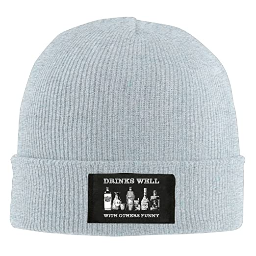 bb70a341f2b Amazon.com  Drinks Well With others Funny Funny Men Women Casual Beanie Hat  Winter Wool Knit Skull Caps  Clothing