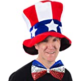 Jacobson Hat Company Mens Velvet Top Hat with US Flag Pattern