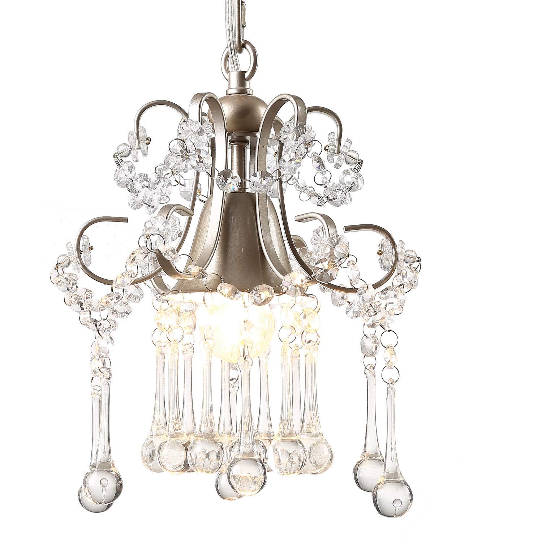 Garwarm Mini Style K9 Clear Crystal Chandeliers, Ceiling Lights,Crystal Pendant Light,Ceiling Light Fixtures for Living Room Bedroom Restaurant Porch Chandelier,1-Light,Champagne
