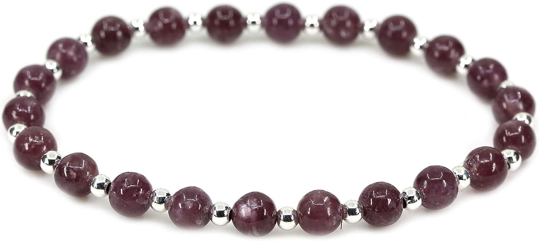 Bracelet /élastique avec perles en argent S925 et pierres naturelles de 6/mm 17,8/cm