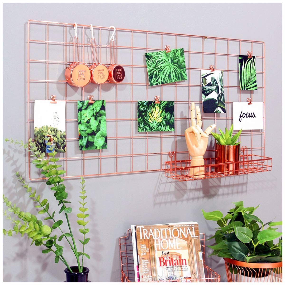 Simmer Stone Rose Gold Wall Grid Panel Photo Hanging Display & Wall Decoration Organizer, Multi-Functional Wall Storage Display Grid, 5 Clips & 4 Nails Offered, Set of 1, Size 17.7''x37.4''