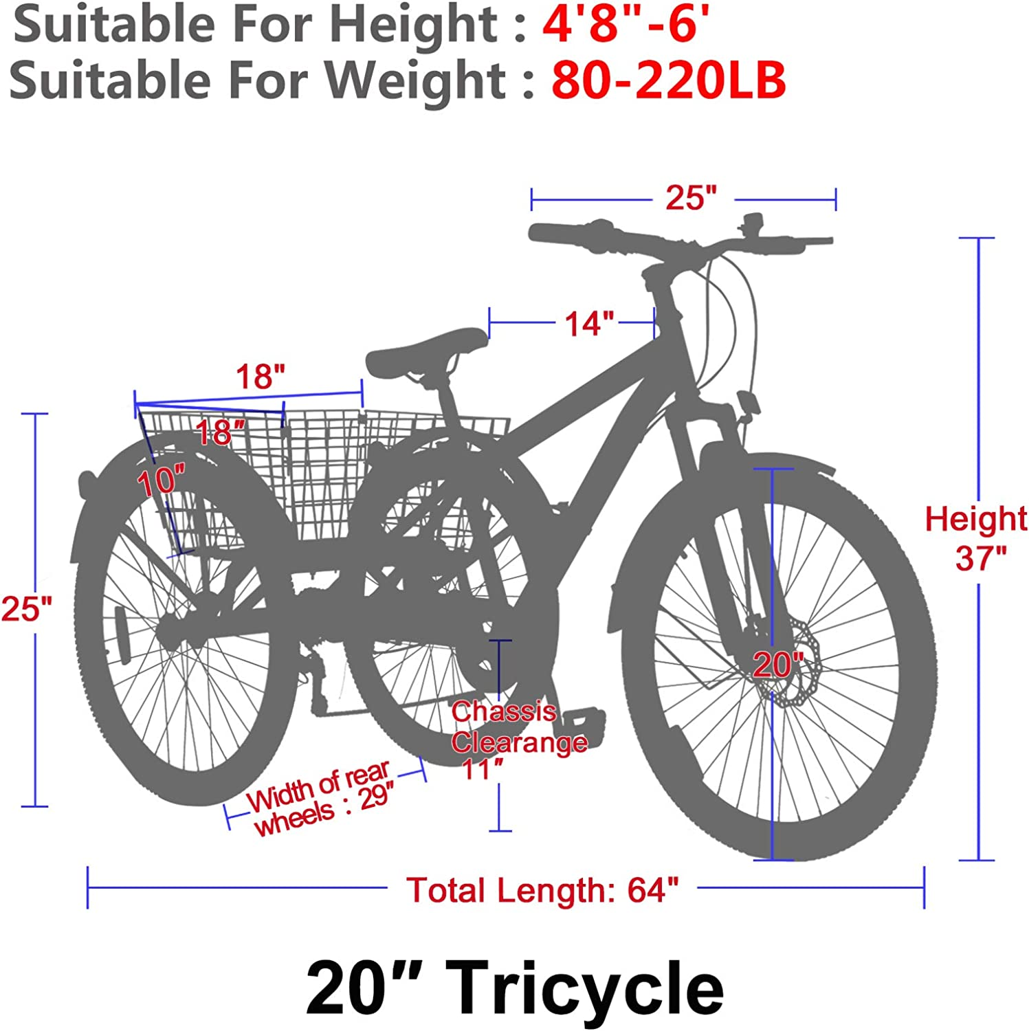 VANELL Adult Mountain Tricycle 20//24//26 in 7//1 Speed Three Wheel Cruiser Trike Bike with Front Suspension Fork Front Disc Brake MTB Tire Bicycle