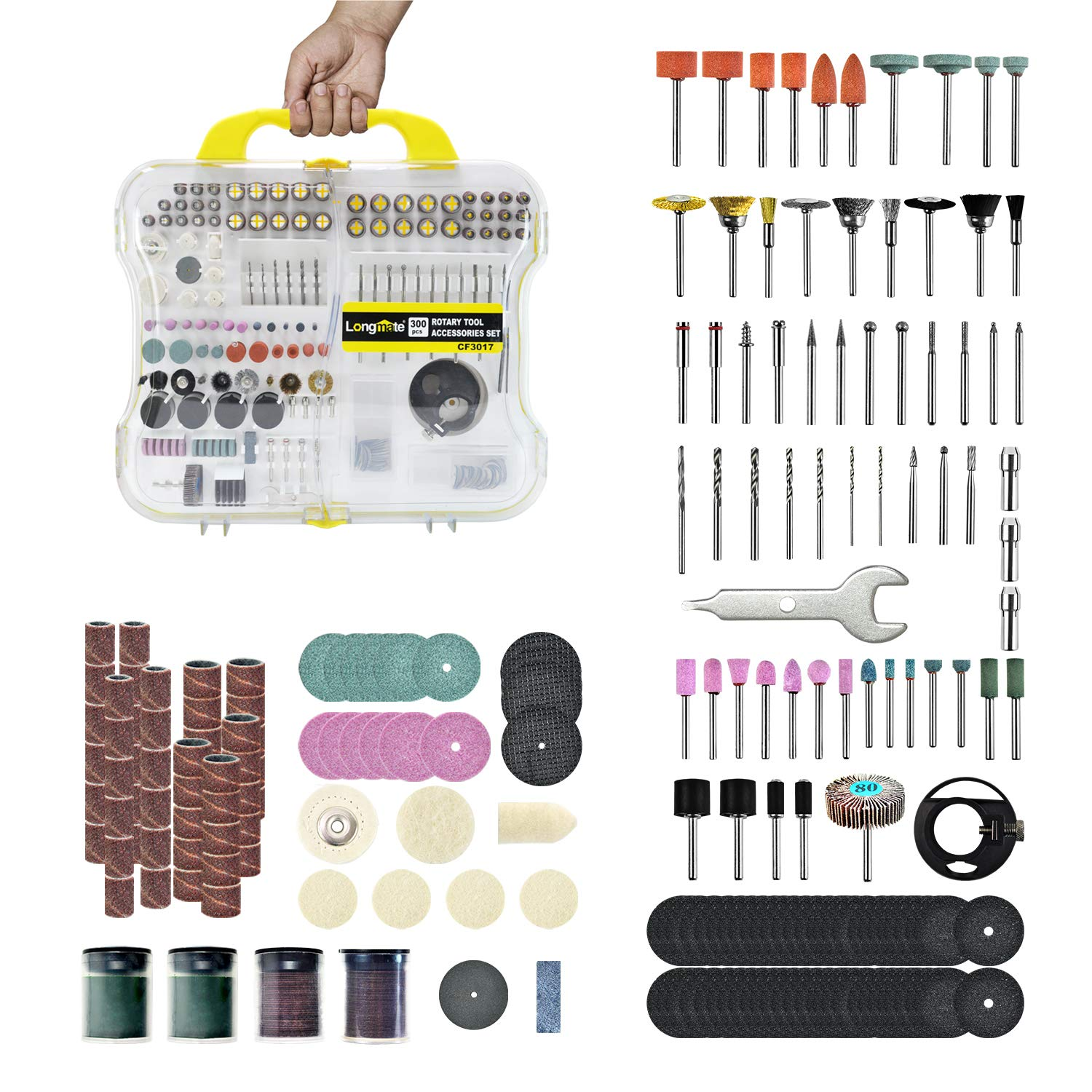 Longmate 300 PCS Rotary Tool Accessories Kit Universal Fitment for Easy Cutting, Carving, Grinding, Sanding and Polishing