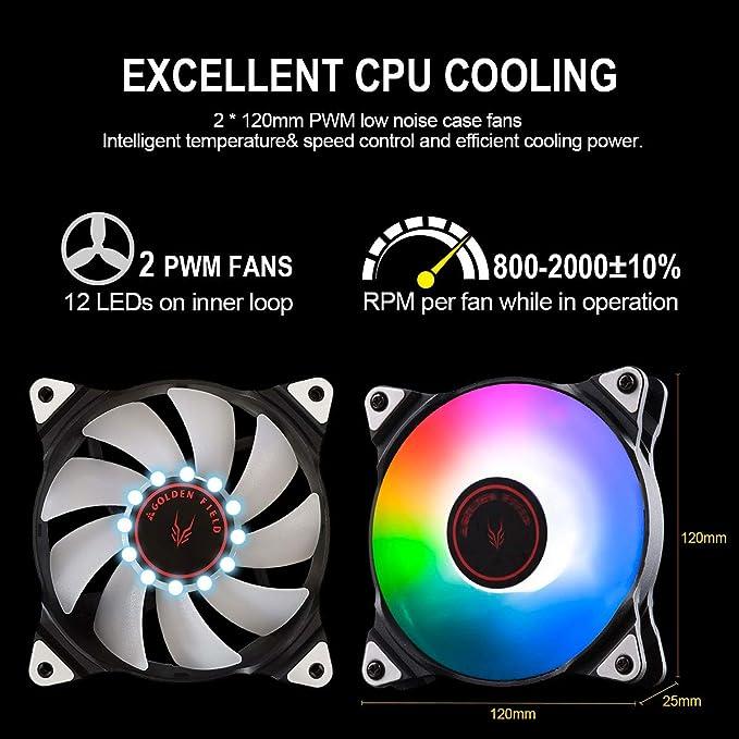 Golden Field - Enfriador de CPU líquido todo en uno RGB con ...