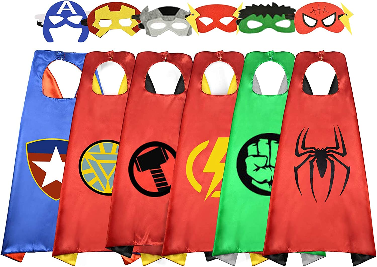 Superhero Cape for Kids, Double-Sided Satin Capes and Mask for Dress Up Costumes (6 Capes)