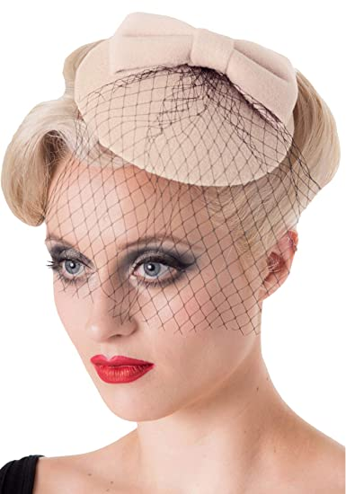 bfc87f48918 Banned Apparel Dancing Days Retro Inspired Pillbox Net Veil Hat Fascinator  (One Size