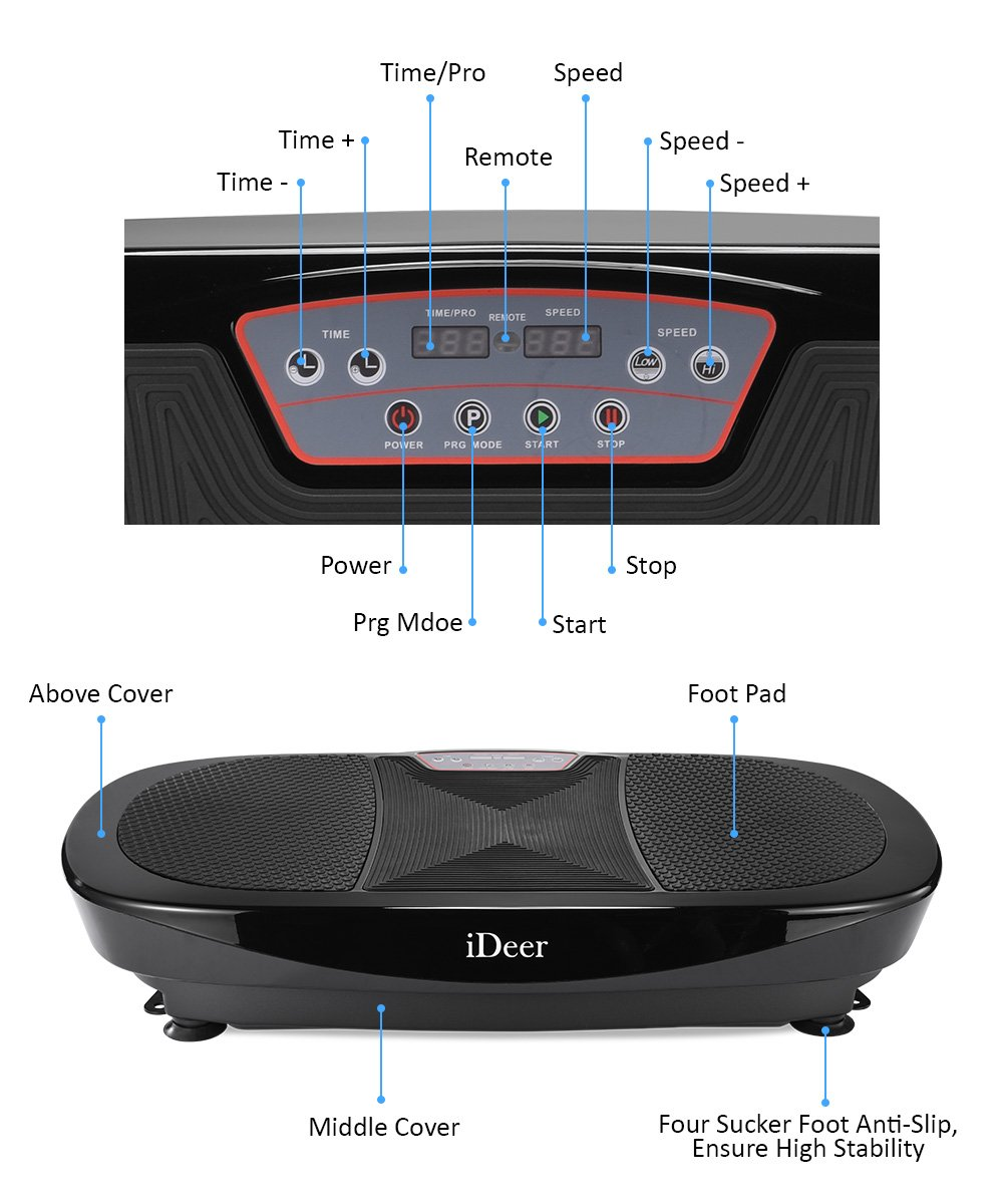 iDeer Vibration Platform Fitness Vibration Plates,Whole Body Vibration Exercise Machine w/Remote Control &Bands,Anti-Slip Fit Massage Workout Vibration Trainer Max User Weight 330lbs (Black09008) by IDEER LIFE (Image #3)
