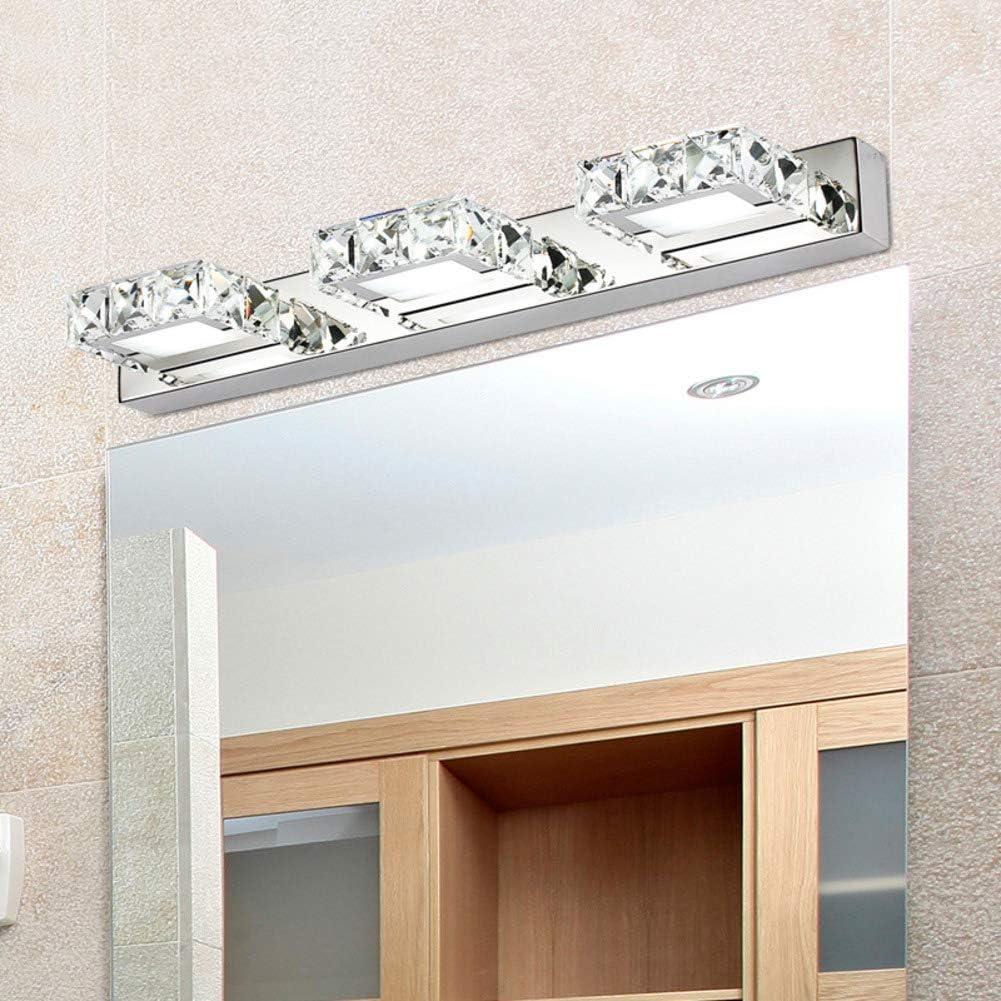 Cristal Led lámpara de espejo, 9w Modren Espejo baño led Simple Pared espejo vanidad delanteras luces-l:46cm-plaza luz blanca: Amazon.es: Iluminación