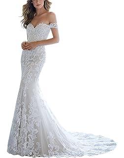 CJJC Meerjungfrau Hochzeitskleid Elegant V-Ausschnitt Lange Zug Spitze Backless Brautkleider Ideal F/ür Frauen Zeremonie Abend Party Spezielle Anl/ässe verwenden