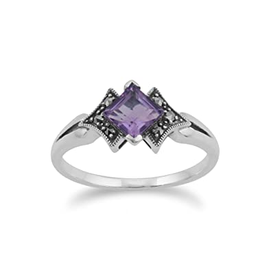 Sterling Silver 0.6ct Amethyst & Marcasite Ring IKBy6NFJ
