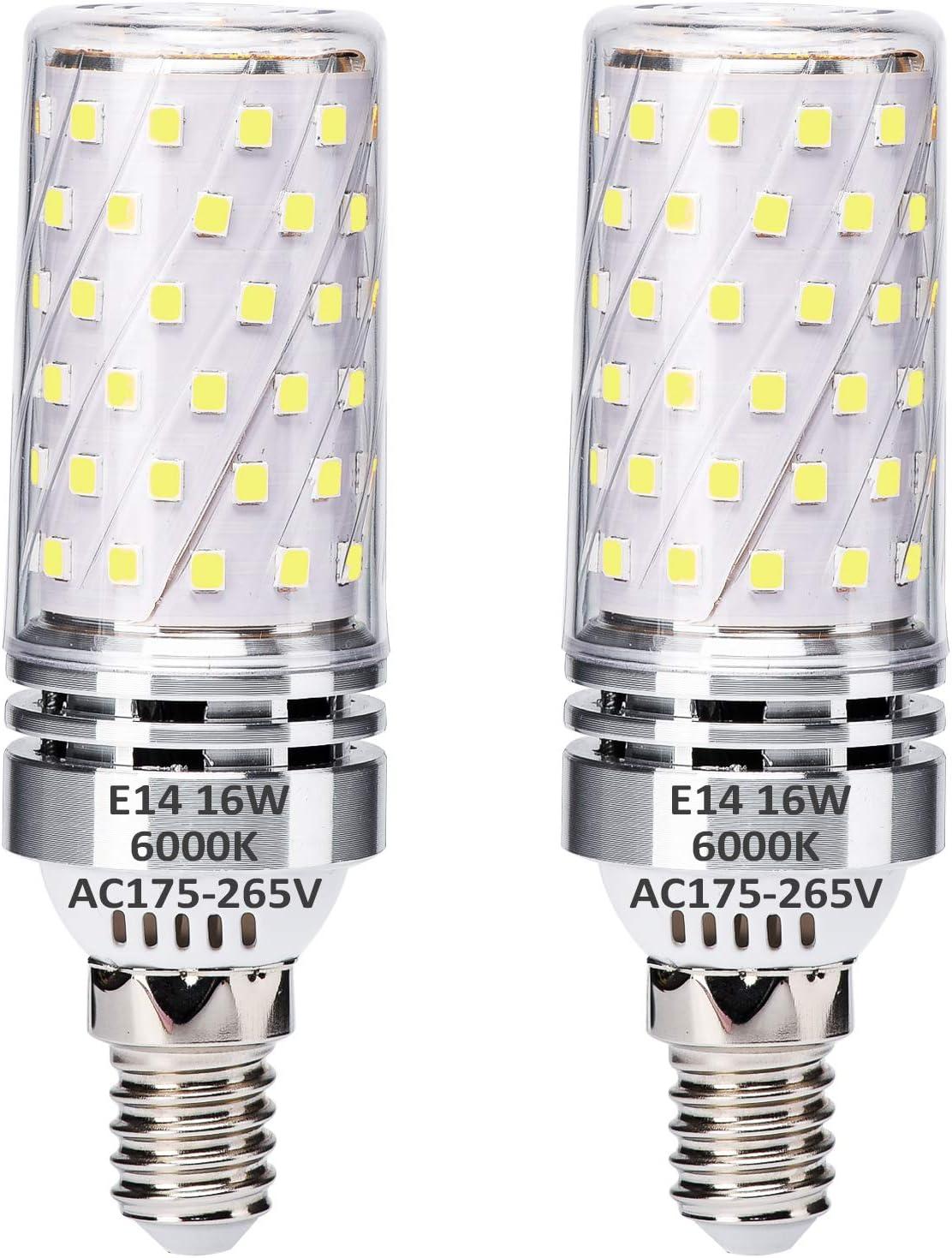 E14 LED Maíz Bombillas 16W Blanco Frío 6000K Equivalente a 120W Bombillas halógenas, E14 El ahorro de energía Bombilla, sin parpadeo, sin atenuación, 1400LM, CA 175-265V, paquete de 2