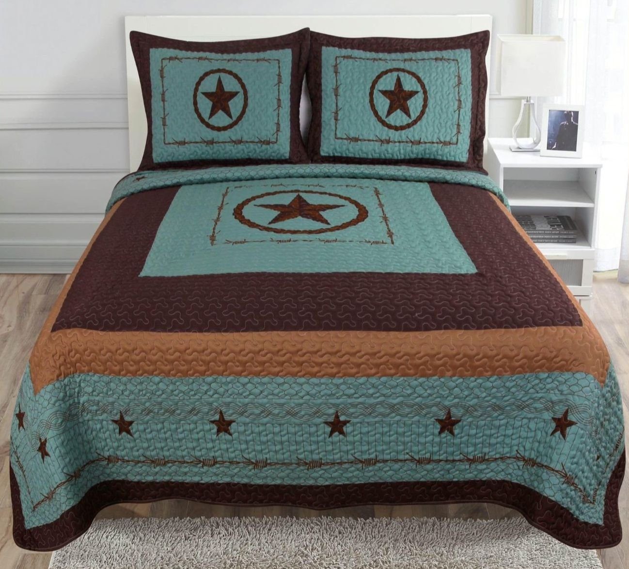 Amazon.com: 3-piece Western Lone Star Barb Wire Cabin / Lodge ... : western quilt bedding sets - Adamdwight.com