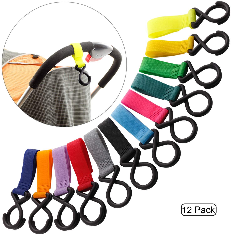 Stroller Hook - Karidge 12 Packs of Multi Purpose Hooks - Hanger for Baby Diaper Bags, Groceries, Clothing, (12 Pcs)