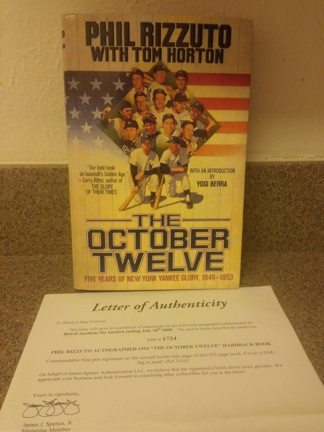 Phil Rizzuto Autographed Signed The October Twelve Hardback Book Loa From JSA