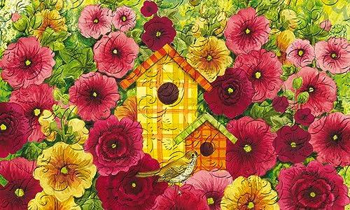 Evergreen Garden 41EM2153 Summer Birdhouse Floor Embossed Door Mat, Multicolor