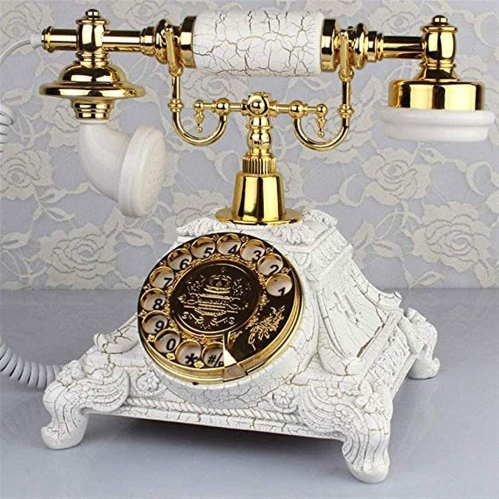 Radvihay Telephone Antique Retro Corded Telephone Vintage Analog Telephone Desktop Landline Phone With Rotating Dial And Metal Bell For Bedroom Living Room Study Office Color : Gold White