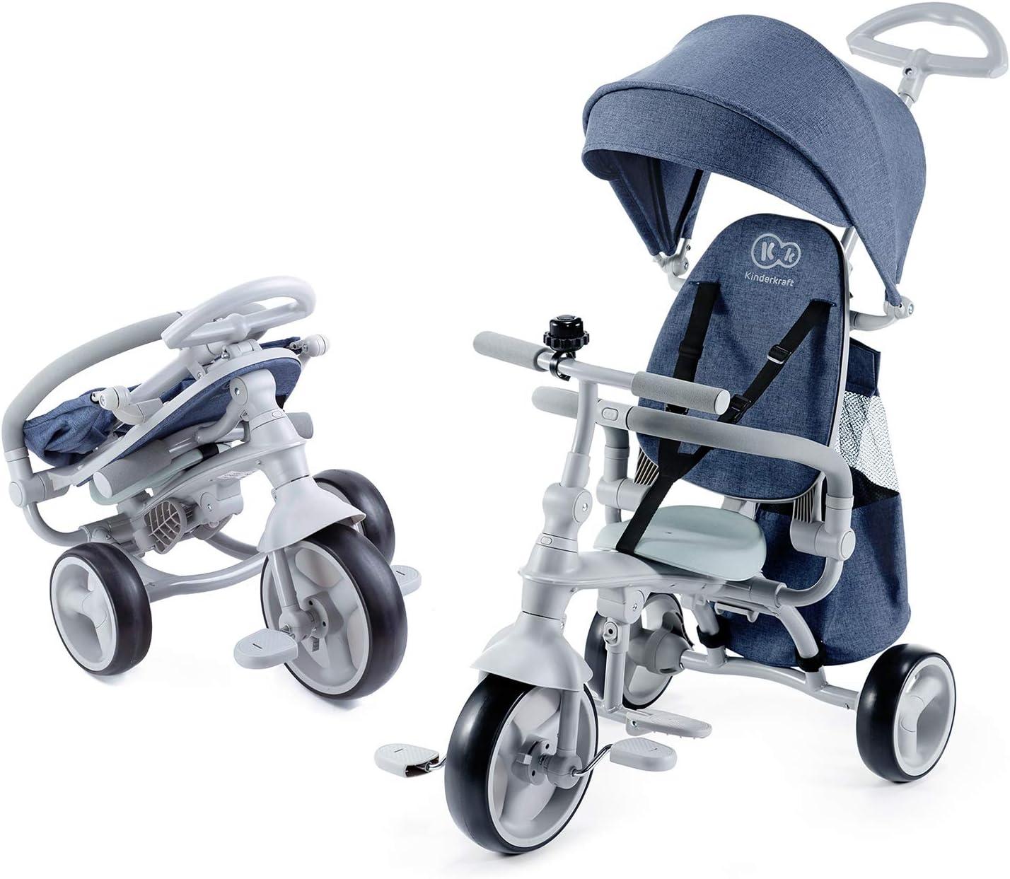 Kinderkraft Triciclos Bebés JAZZ, 4 en 1, Evolutivo, Plegable, Móvil, Azul