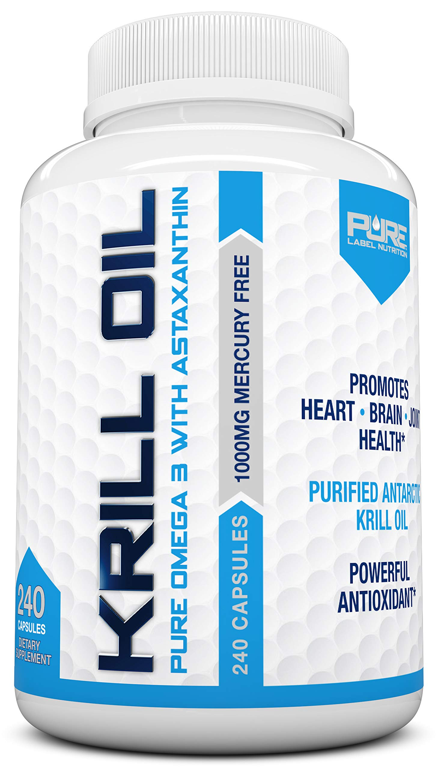 Krill Oil 1000mg with Astaxanthin 240 Caps Omega 3 6 9 - EPA DHA - 100% Purified, Mercury Free and Wild Caught - Non GMO - Gluten Free - Pure Krill Oil - Mega Dose Phospholipids by Pure Label Nutrition