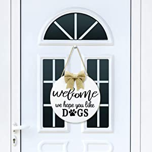 Jetec Rustic Welcome Sign Hope You Like Dogs Sign Farmhouse Porch Decorations for Home Front Door Outdoor Indoor (Dark Brown)