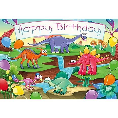 Cassisy 1,5x1m Vinilo Cumpleaños Telon de Fondo Feliz cumpleaños Dibujos Animados Dinosaurio del Bosque Volcánico Fondos para Fotografia Party ...