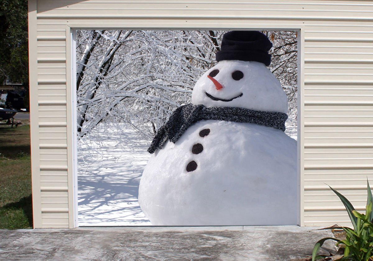 Snowman Banner Murals for Single Car Garage Covers Happy Holiday Merry Christmas Full Color Door Decor Decorations of House Garage Billboard 3D Effect Print Size 83 x 89 inches DAV116 by WallTattooHome