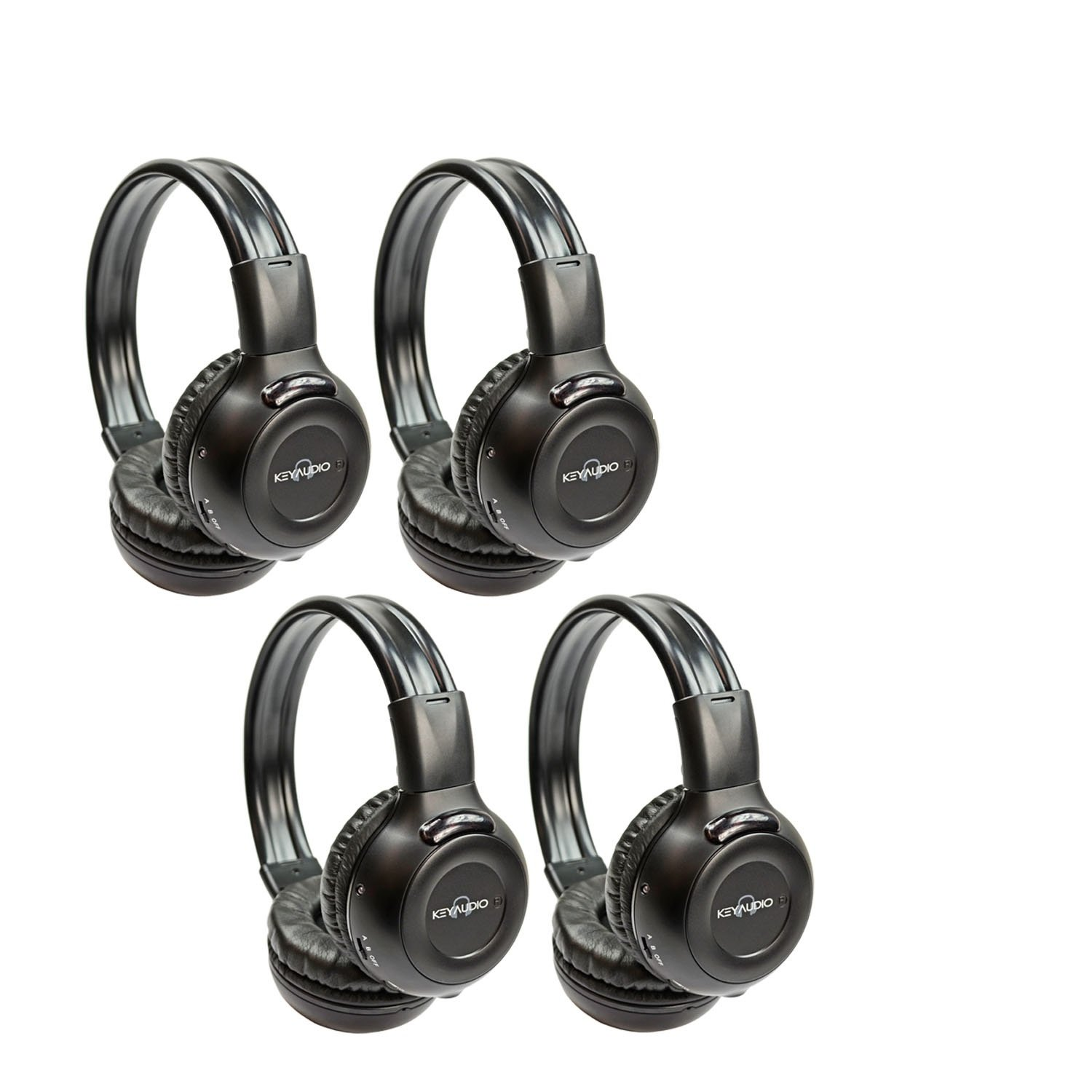 Four Pack of Two Channel Folding Adjustable Universal Rear Entertainment System Infrared Headphones With Four Additional 48'' 3.5mm Auxiliary Cords Wireless IR DVD Player Head Phones for in Car TV Video Audio Listening With Superior Sound Quality