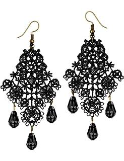 Amazon.com: 1928 Jewelry Jet and Black Crystal Chandelier Earrings ...