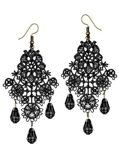 Amazon mints chandelier earrings gothic jewelry for women mints chandelier earrings gothic jewelry for women tassel black lace motif cut out drop dangle earrings aloadofball Choice Image