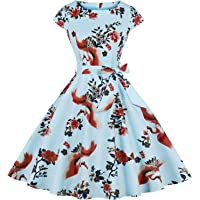 Womens 1950s Vintage Cap Sleeve Polka Dot Rockabilly Cocktail Swing Dresses C70